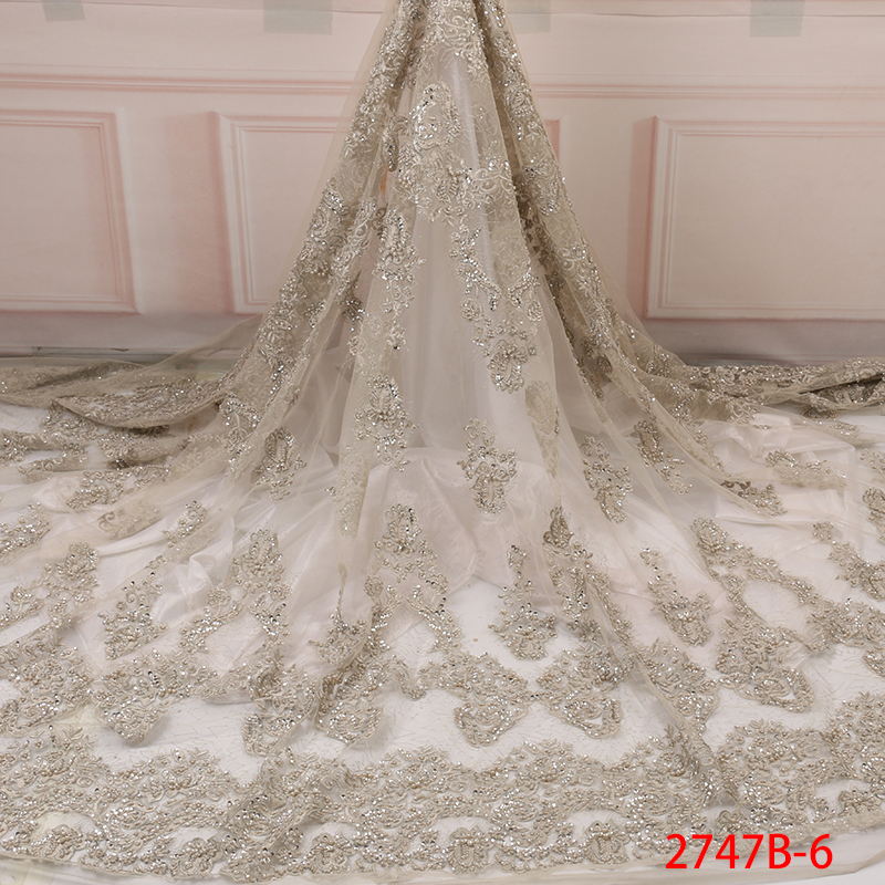 African Tulle Lace Fabric High Quality, French Beaded Lace Fabric 2019, Organza Embroidered Laces Fabric For Dresses KS2747B-6