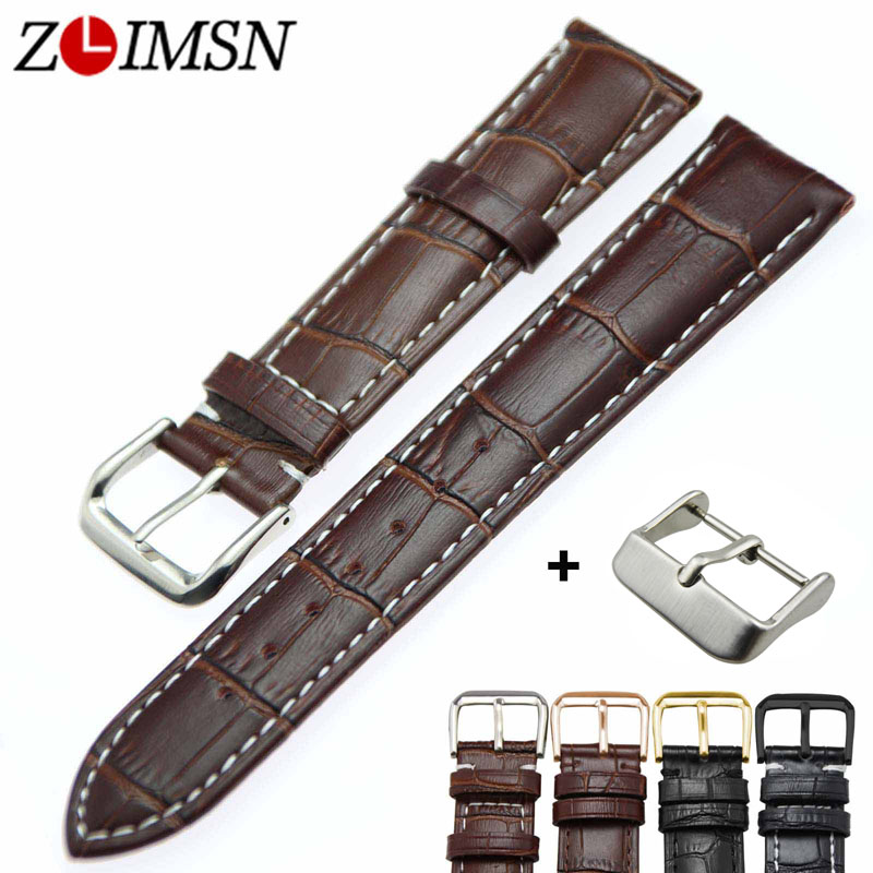 ZLIMSN Brown Black Leather Watch Strap Size 18 19 20 21 22 23 24 26mm Watch Bracelet Stainless Steel Watch Buckle For Mens Women zlimsn 18 20 22 24 26mm pure solid stainless steel watch buckle clasps silver rose gold black polished for leather watch bands