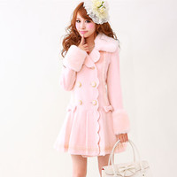 4 Colors Beige Pink Red Long Wool For Women Winter Sweet Japanese Styles Cute Bow Princess
