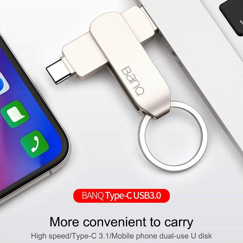 cheapest BanQ C90 USB Flash Drive 32GB OTG Metal USB 3 0 Pen Drive Key 64GB Type C3 1 High Speed pendrive Mini Flash Drive Memory Stick