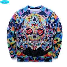 free shipping youth brand 3D Multicolor skull printed hoodies boys teens Spring Autumn thin sweatshirts big kids sweatshirts W8