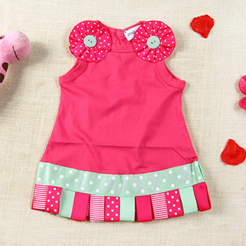 Pink 3D Flower Infant Girl Summer Dress Fantasia Infantil Vestido Kids Party Clothes Summer Baby Wear Children Toddler Clothing