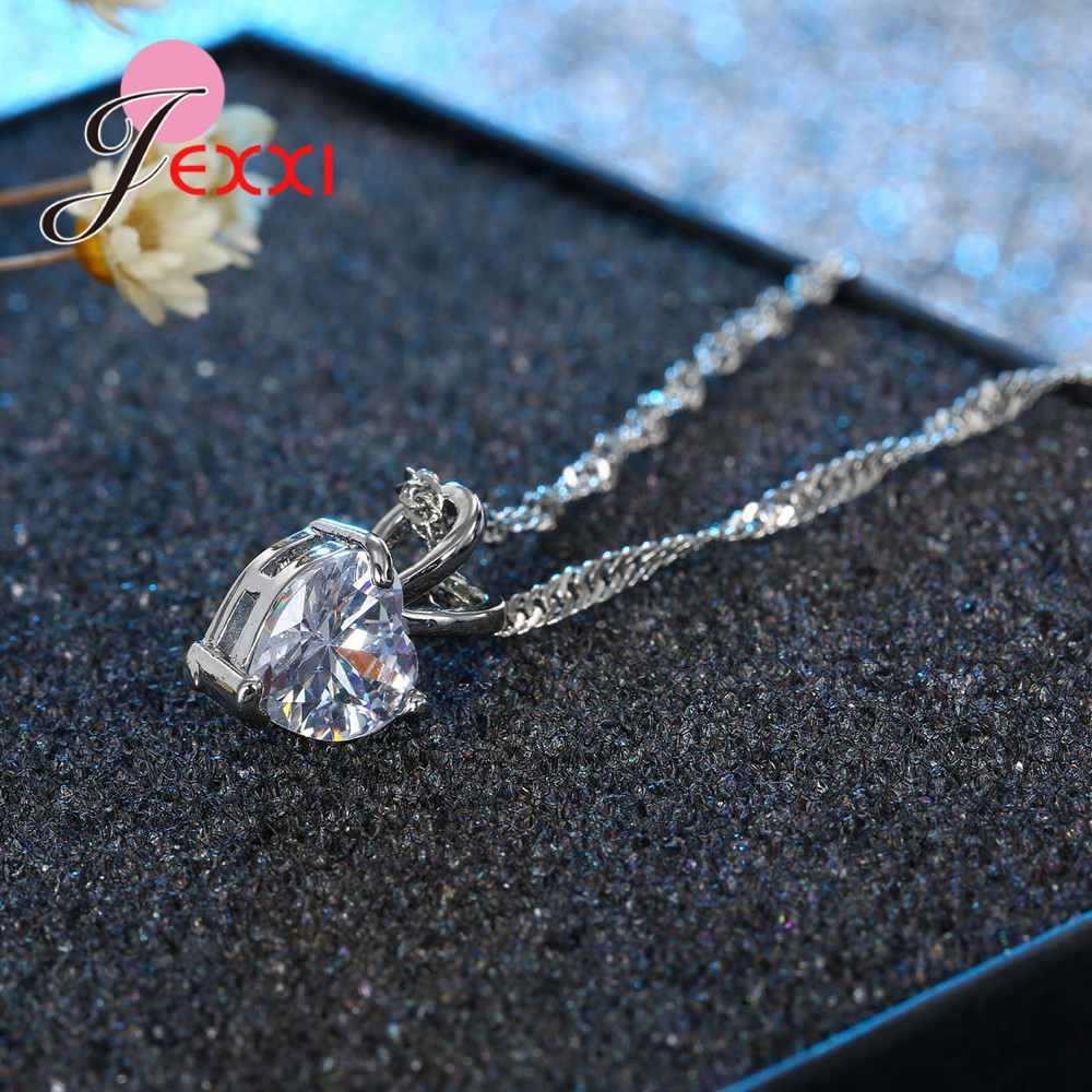 100% ريال 925 فضة قلادة قلادة مشرقة الأميرة قص واضح القلب مكعب الزركون مجوهرات نيس هدايا عيد الحب