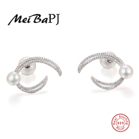 [MeiBaPJ]Individualized double sided pearl moon studs real 925 silver fashion earrings for women fine jewelry three colours