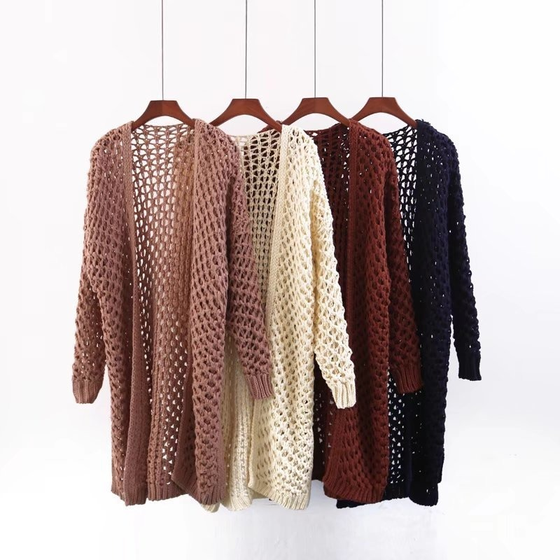 Jellpe 2017 Women Long Cardigans Hollow Out Open Stitch Knit Sweater Cardigans V neck Oversized Cardigan Jacket Coat