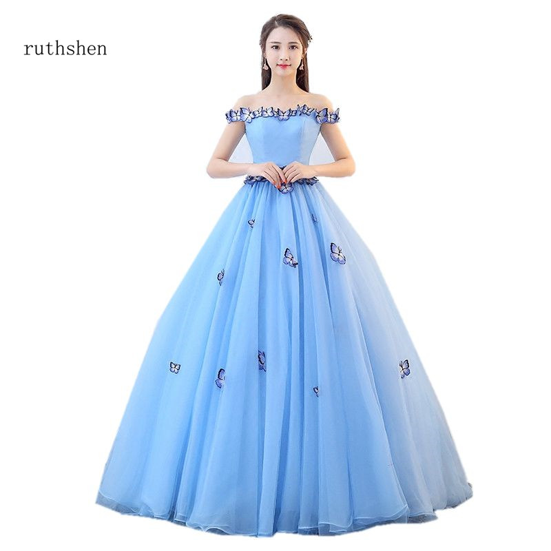 ruthshen Fairy Vestido Debutante Cheap Prom Gowns Light Blue Ball Gown Butterfly Quinceanera Dresses Simple Off The Shoulder gown