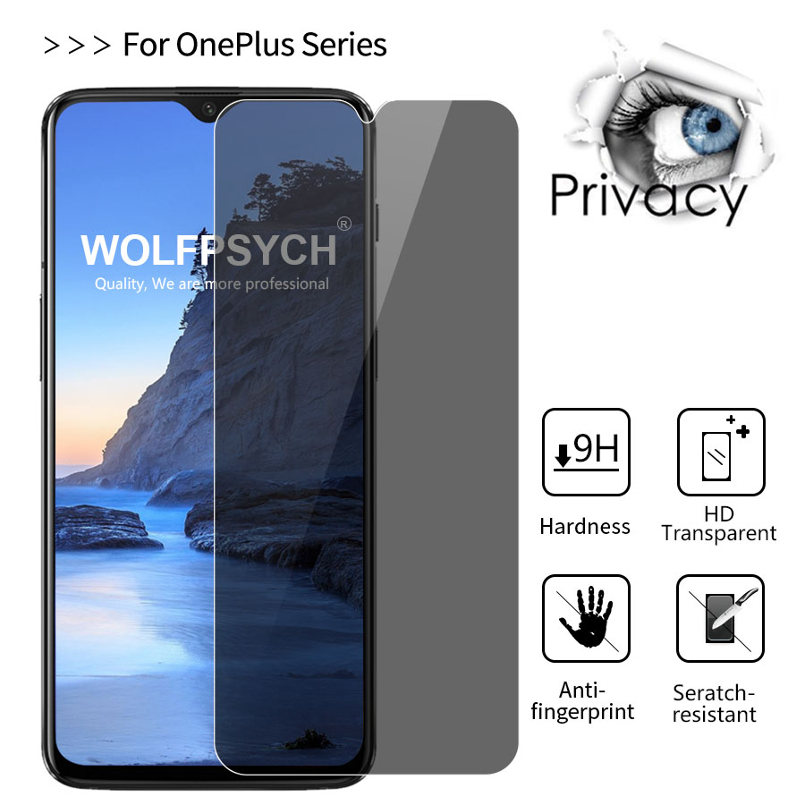 WOLFPSYCH 9H 2.5D Privacy Tempered Glass Screen Protector Protective Film For Oneplus 6T 6 5 5T 3 Anti Spy Film