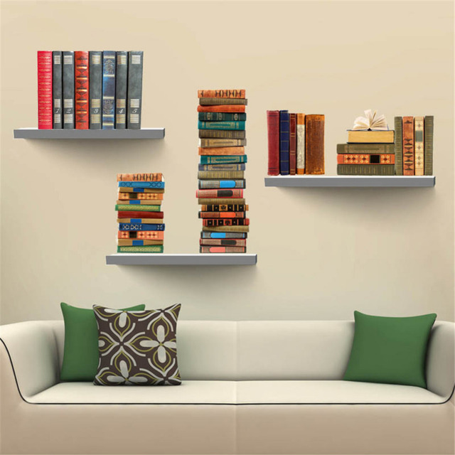 Book Bookshelf Removable Wall Sticker TV Backdrop Decals Wall Stickers For  Kids Room Home Decor Free