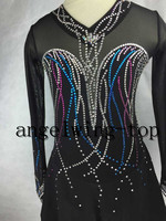 black figure skating dresses women competition skating dress girls custom ice figure skating dress silk clothing to figure