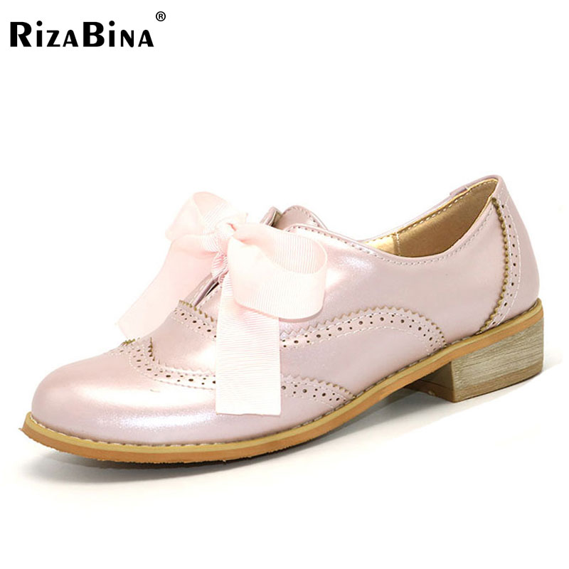 RizaBina women single oxford shoes lady lacing up shoes student leisure shoe young girl simple flat