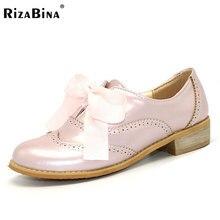Rizabina женские тонкие оксфорды Дамская обувь на шнуровке Обувь для студентов обувь для отдыха простые туфли для девочек на плоской подошве размер 34-43 PD00048