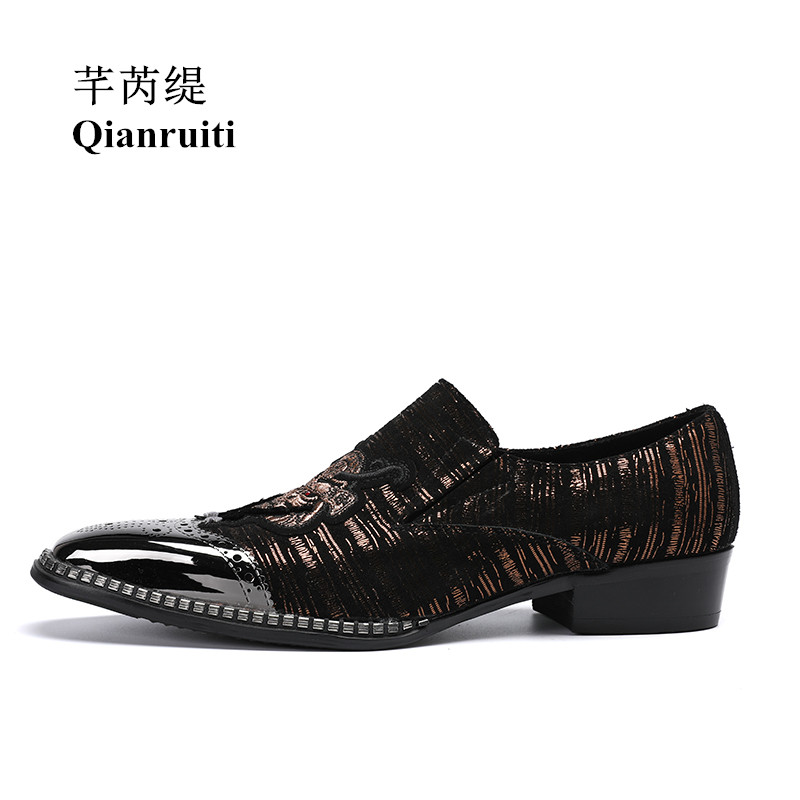 Qianruiti Men Animal Head Loafers Metal Toe Wedding Oxfords High Quality Slip-on Slippers Men Dress Shoe EU39-EU46 qianruiti men alligator gold loafers metal toe business wedding oxfords high quality lace up slippers men dress shoe eu39 eu46