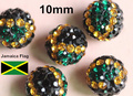 50PCS 10MM Jamaica Flag Crystal Rhinestone Pave Shamballa ball beads for DIY fashion Jewelry