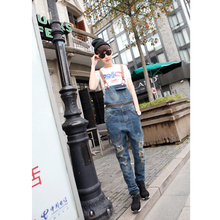 Autumn male Bib Japanese Metrosexual Siamese suspenders Korean wash water hole jeans length