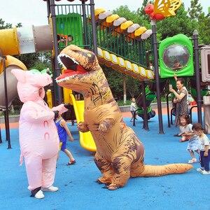 Image 4 - Costume gonflable de Jurassic World, mascotte de dinosaure, dessin animé, pour Thanksgiving, pour enfants et adultes, spectacle de fête, pour noël, T REX