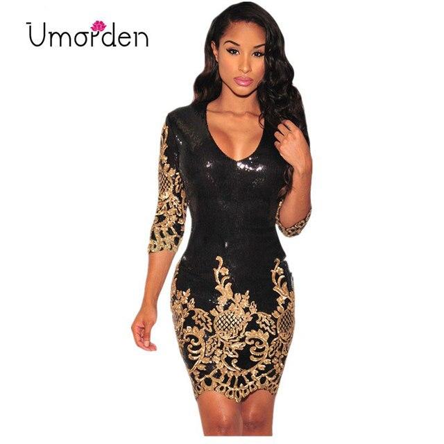 Gold Silver Black Bodycon Sequin Dresses Club Wear Half Sleeve V Neck  Floral Mini Dress Vestidos 45312d85897c