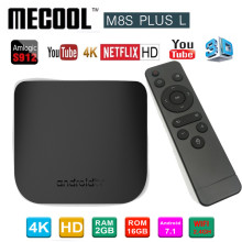 лучшая цена MECOOL M8S PLUS L 2G 16G Android 7.1 Amlogic S912 TV box H.265 4K HDR 10 2.4G 100M M8S Plus L Media Player Set Top Box