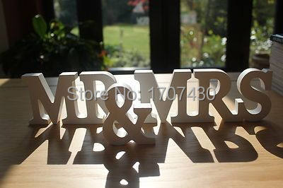 Online Shop Free shipping MR & MRS ANTIQUE WHITE WOODEN LETTERS ...