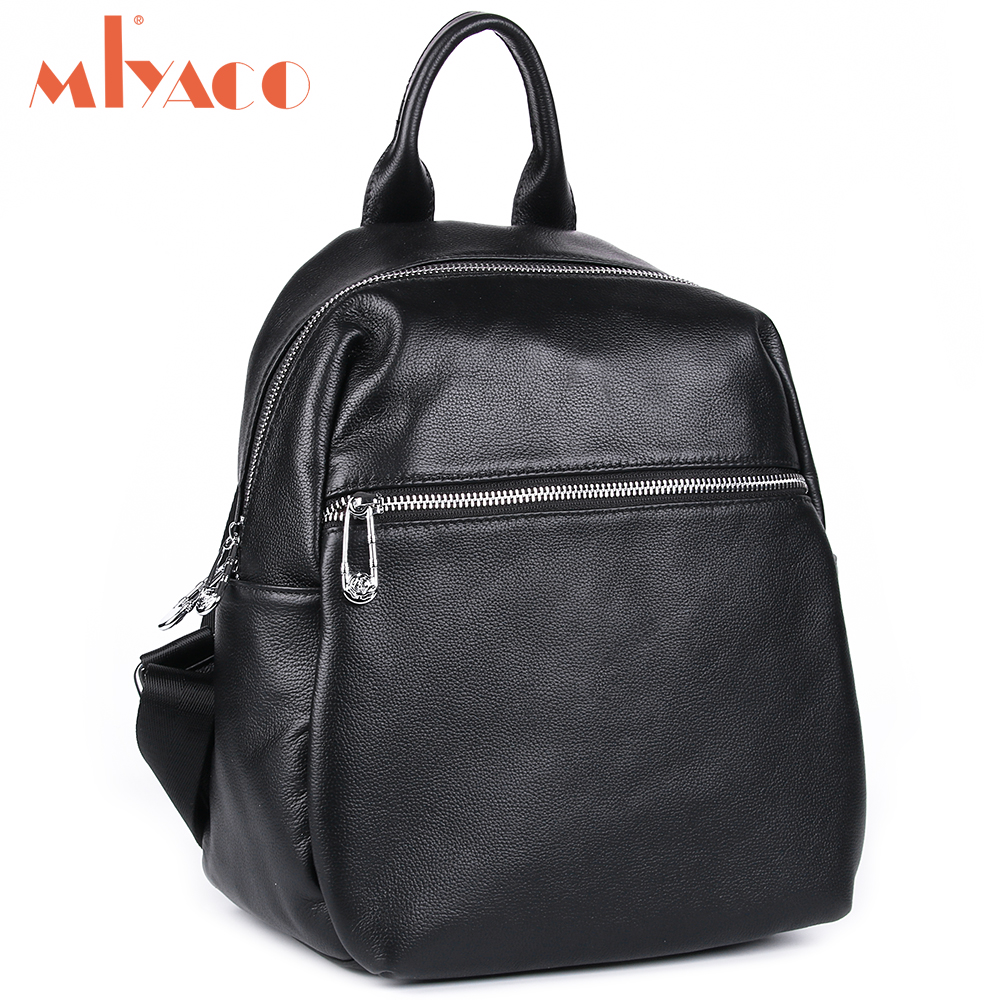 MIYACO Casual Backpack Women Genuine Leather Backpacks Black Teenage Girls School Bag pack mochila feminina 2017 new wallet small coin purse short men wallets genuine leather men purse wallet brand purse vintage men leather wallet page 2