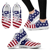 WHEREISART Spring Amercian Flag Pattern Women Running Shoes Mesh Breathable Flats Couple Female Soft Sneakers Zapatos de Mujer