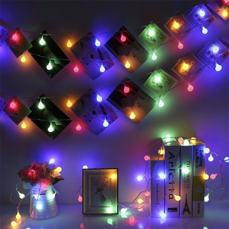 Image 4 - LED Ball String Lights Wedding Fairy Light Christmas Outdoor Indoor 10M 20M 30M 50M Garland Holiday Party Garden Deco EU Plug-in LED String from Lights & Lighting on