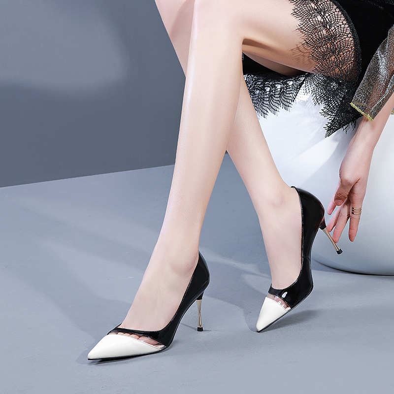 Haute D'été Profonde black Correspondant De Femmes Couleur White Talons Métal Peu Célèbre Et Printemps Cuir Bouche Marque Pointu En Automne 2019 Chaussures q18waPX