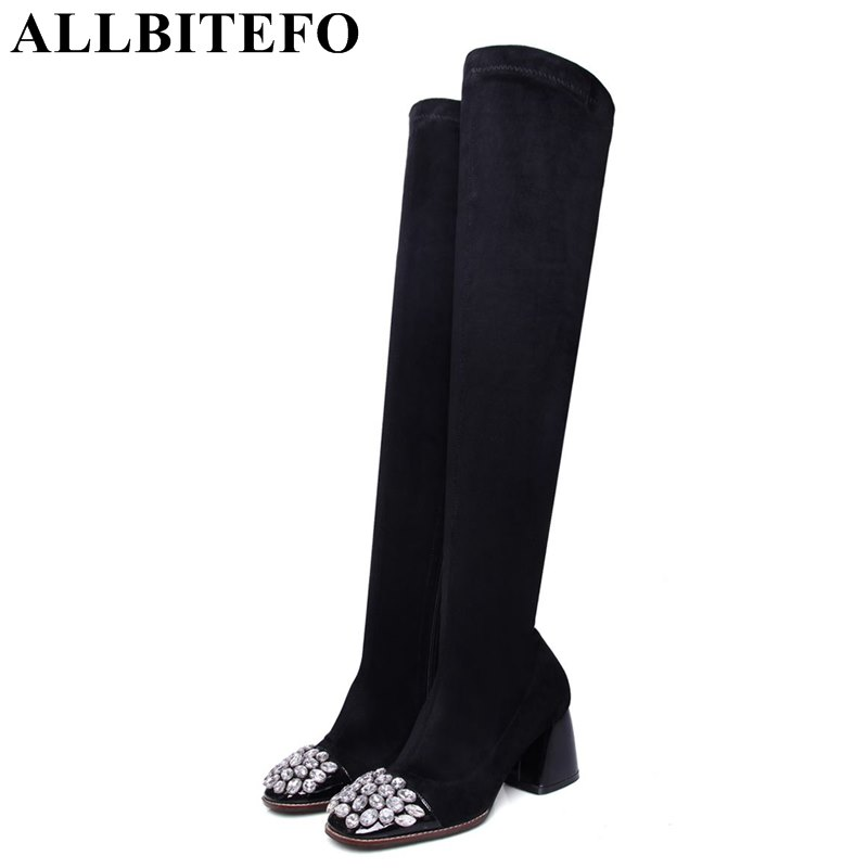 ALLBITEFO square toe genuine leather +flock Elastic cashmere thick heel women boots fashion Rhinestone spring autumn girl boots czrbt genuine leather boots women fashion pointed toe thick heel high heel boots spring autumn cow leather women chelsea boots