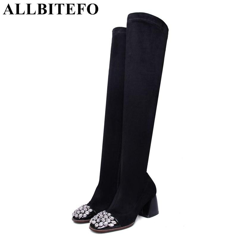 b56fa36c7 ALLBITEFO toe quadrado de couro genuíno + rebanho Elástico cashmere botas  das mulheres do salto grosso botas de moda Strass primavera outono menina