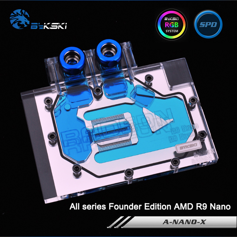 Bykski A-Nano-X Full Cover Graphics Card Water Cooling Block RGB/RBW/ARUA for All series Founder Edition AMD R9 Nano bykski a xf37bwpk x full cover graphics card water cooling block for xfx r9 370 370x 380 380x