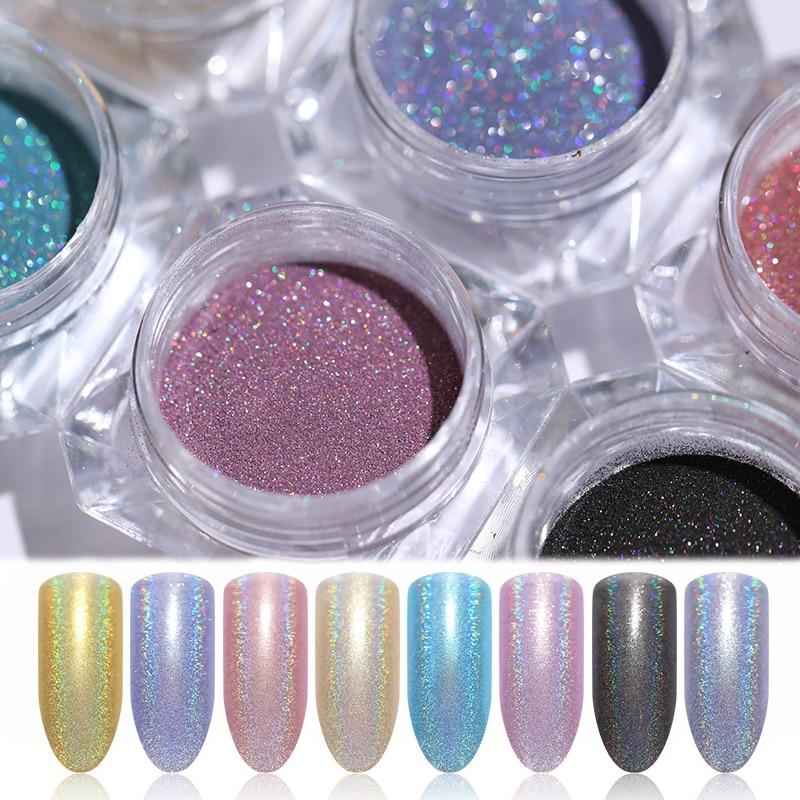 1 Box Holographic Nail Glitter Powder Shinny Chrome Sliver Dust Sparkly Manicure Nail Art Decoration for Gel Polish