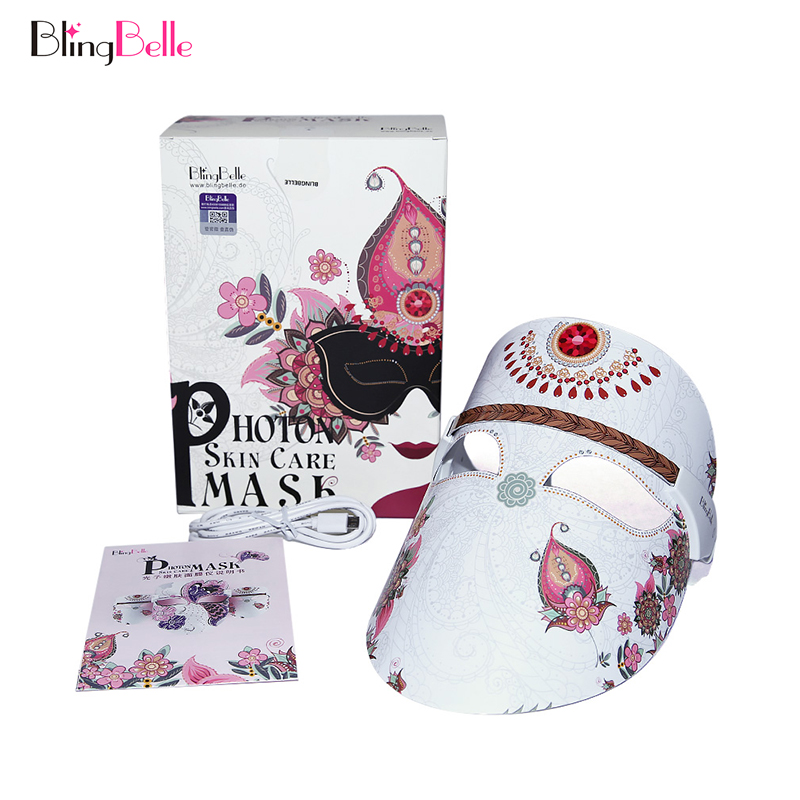 BlingBelle Led Facial Mask Skin Care Rejuvenation Essence Lead In Wrinkle Acne Removal Led Light Therapy Mask Beauty Instrument