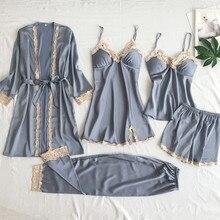 FEIER 5 Pieces Set Summer Spring Fashion Pajamas for Women Robe Sleep Lounge Sexy Lace Pajama Satin Sleepwear