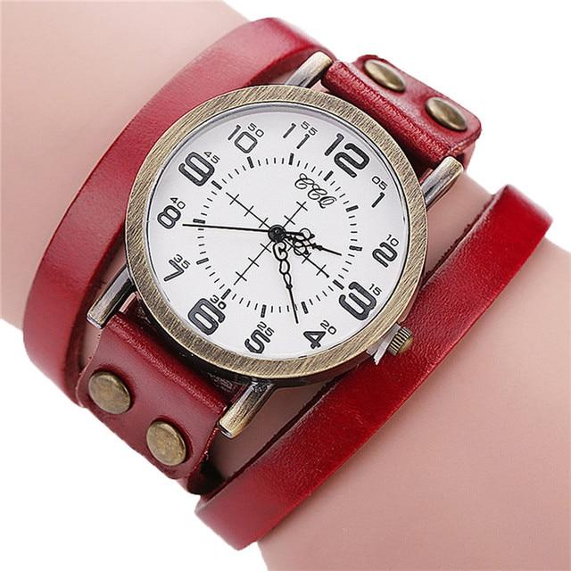 Luxury Brand Vintage Cow Leather Bracelet Watch Men Women Stainless Steel Wristwatch Ladies Dress Quartz Watch reloj mujer