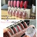 HOT NASCIDO BONITO Rose GoldNail 1 g/caixa Espelho de Prata Prego Brilho Cromo em pó + 1 garrafa de Molho Off Gel UV Vermelho Conjunto Manicure