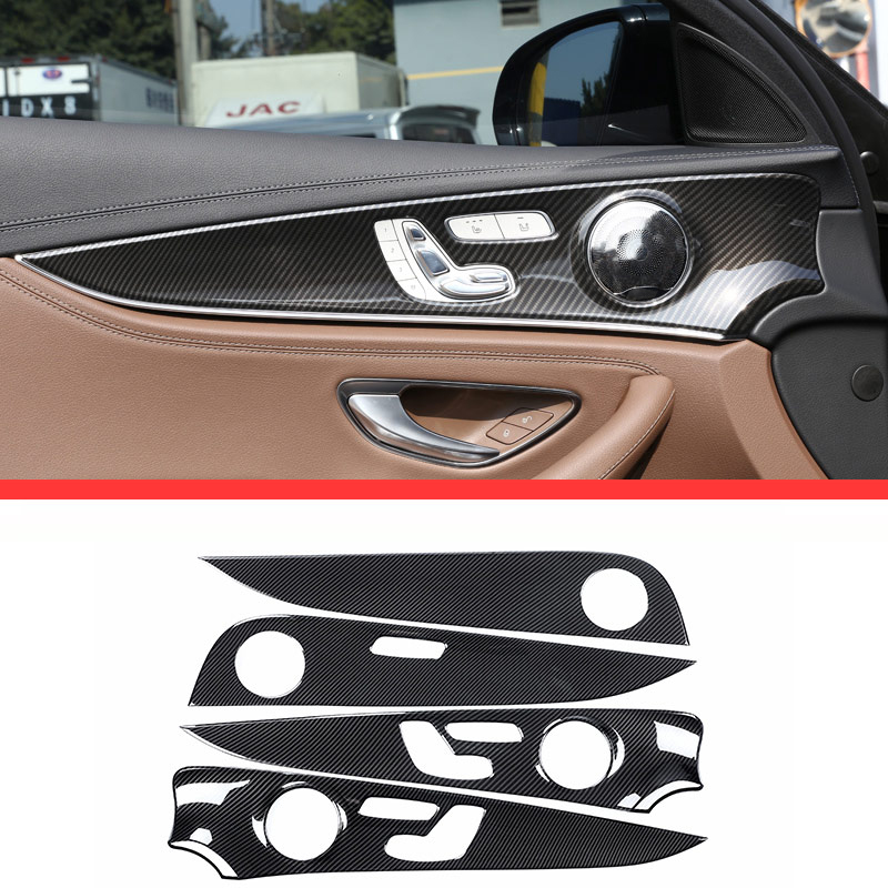 For Mercedes Benz E Class W213 E200l E300l ABS Chrome Gloss Black Interior Door Decoration Panel Cover Trims 4pcs for mercedes benz w213 e class e200 e300l 2016 2017 amg car styling aluminum polish window moulding trim decoration set of 4pcs