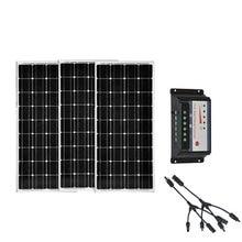 Placa Solar 12v 100w 3 Pcs Solar Panels Kit 36v 300w Solar Charger Solar Charge Controller 12v/24v 30A PWM RV Motorhome Caravn solar panels battery charge controller 12v 24v pwm ls3024b 30amp 30a with mt50 bluetooth function