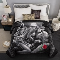 Bedspread Quilted Bed Spread Bed Cover Double Summer Quilt Blanket US Queen 3D Skull 230x230cm 1pcs