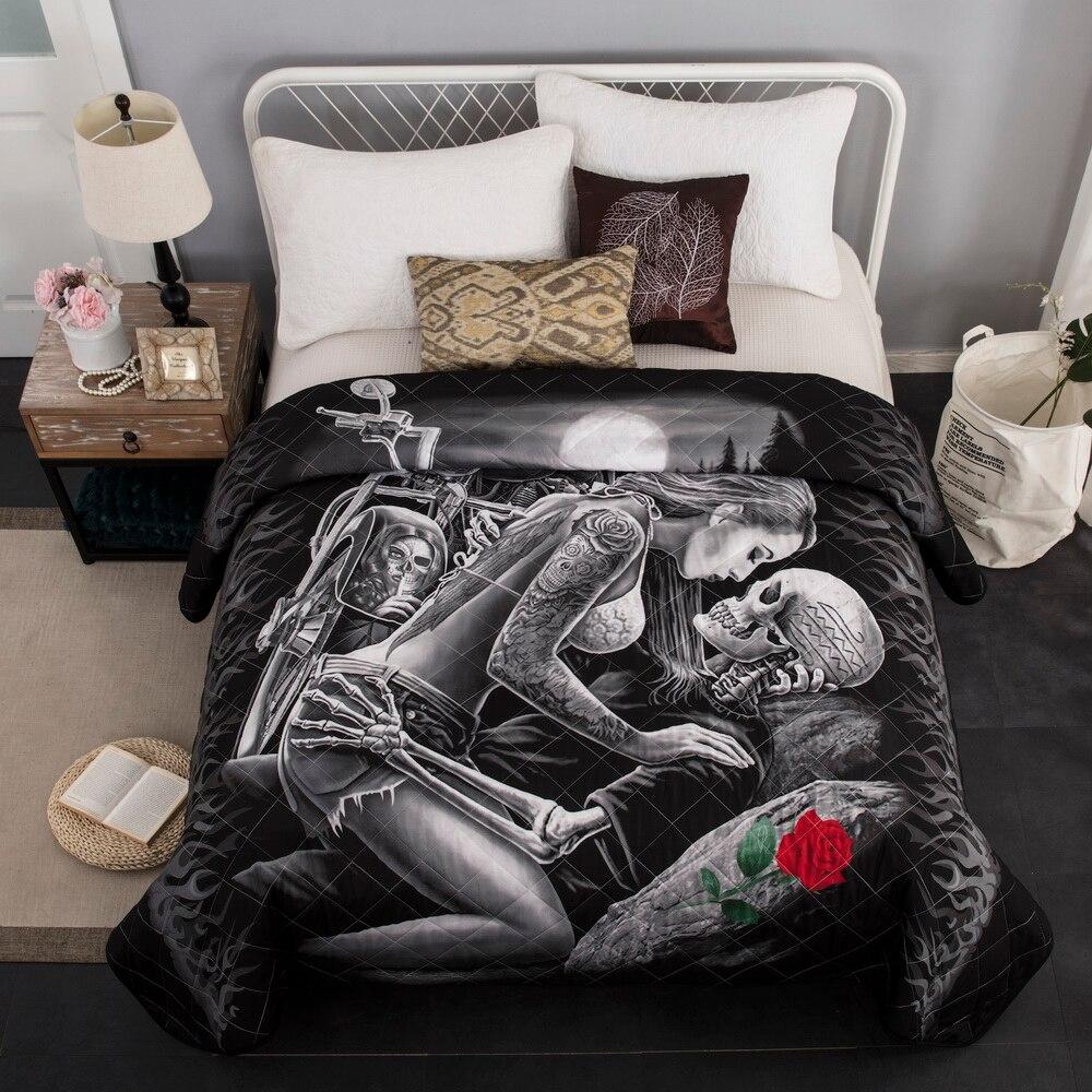 Couvre-lit matelassé couvre-lit Double été couette couverture US Queen 3D crâne 230x230cm 1 pièces