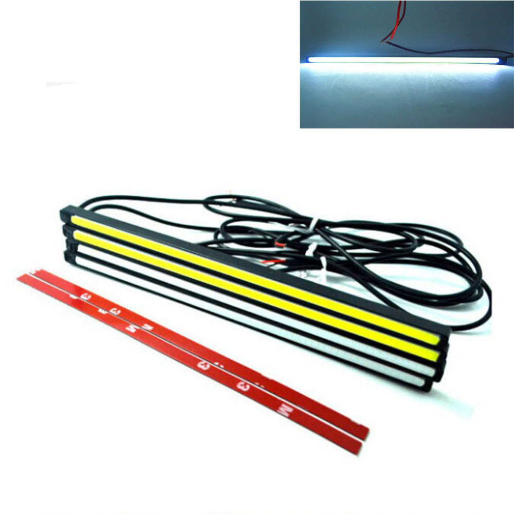 1 Pair 20CM LED COB DRL Auto Car Styling Parking Daytime Running Fog Driving Light Source White Waterproof Ultra Slim Strip Lamp 1 pair metal shell eagle eye hawkeye 6 led car white drl daytime running light driving fog daylight day safety lamp waterproof