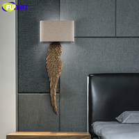 FUMAT Wood Wing Wall Lamps Gold Sconces for Wall Fabric Lampshade Sconce Reading Light Bedroom Wood Wall Light Modern