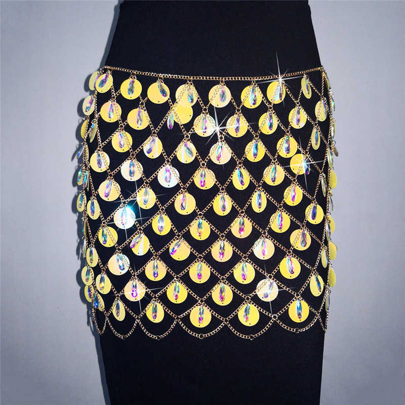 498605c6 ... Runway Colorful Sequins Luxury Glitter Patchwork Metal Women Skirt  Rhinestone Crystal Pencil Skirt Women Festival Party ...