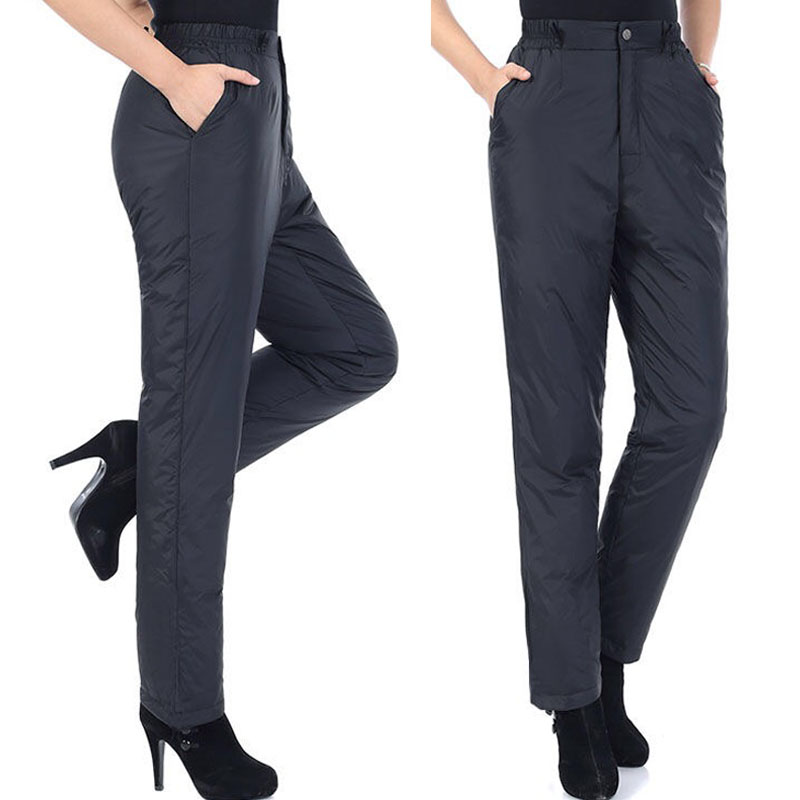 Winter Fall Fashion Women White Duck Down Padded Black Trousers , Autumn 2017 Womens Elastic High Waisted Warm 4xl 5xl Pants