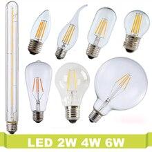 Real watt 2W 4W 6W 220V Vintage Retro T185 T300 Ampoule Bombilla LED Bulb E27 E14 LED Filament Light Glass Edison Candle Light