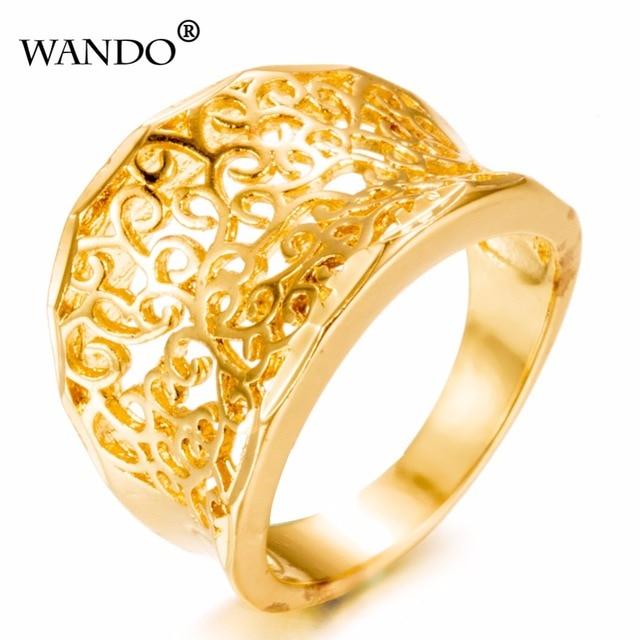 Wando Flowers 24k Gold Color Finger Rings Exquisite Design Ethiopian