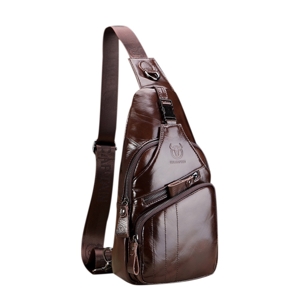 BULLCAPTAIN Messenger Waist Chest Back Pack High Quality Genuine Leather Cowhide Vintage Travel Crossbody Shoulder Bag For Men