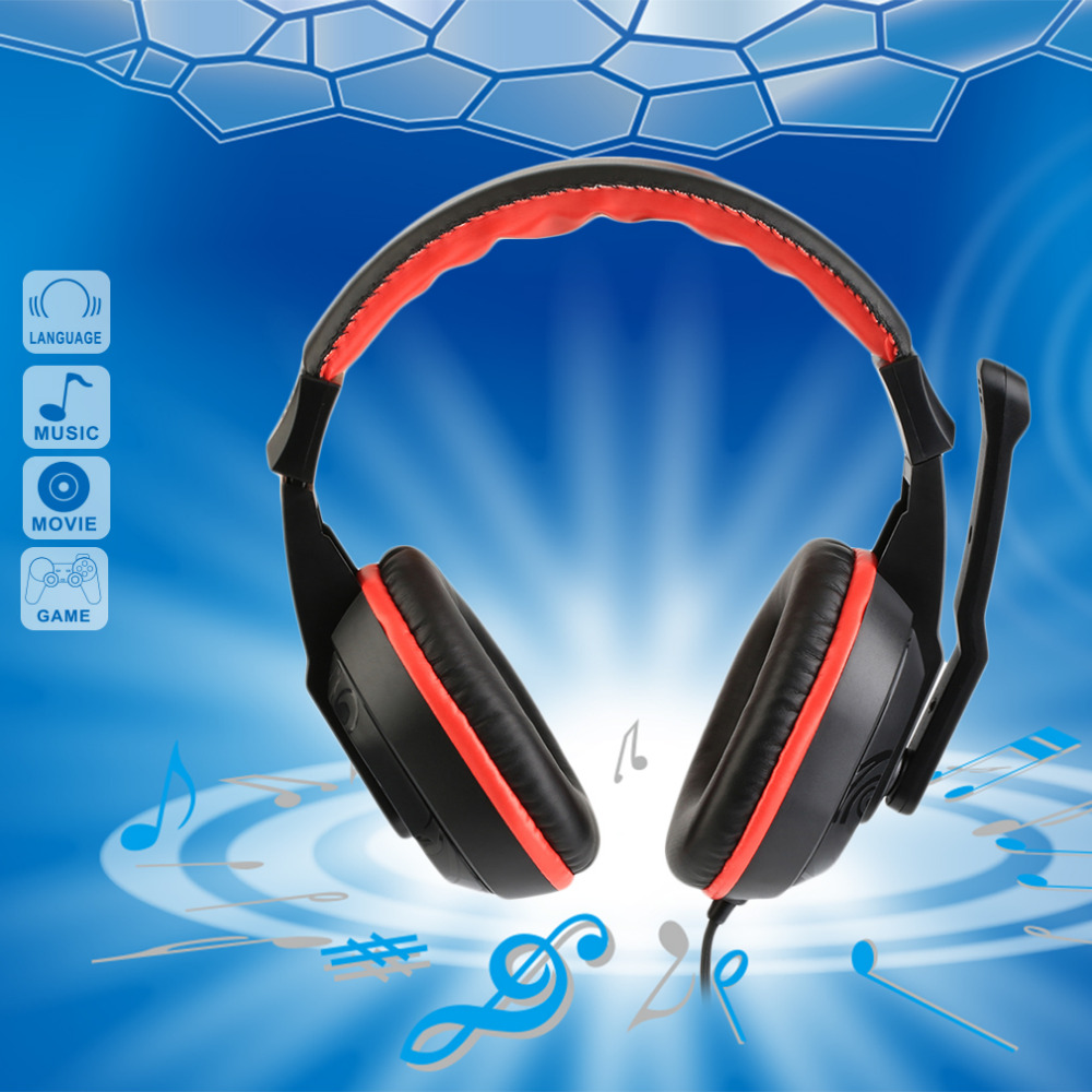 3.5mm Sport Headphone Game Gaming Headphones Headset Low Bass Stereo With Mic Wired For PC Laptop Computer