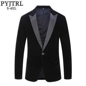 Image 1 - PYJTRL Blazer en velours pour hommes, grande taille, châle noir, classique, à revers, mode, pour marié, Slim, Costume de chanteurs, mode, décontracté