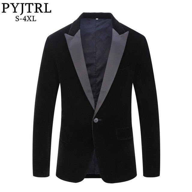 PYJTRL Blazer en velours pour hommes, grande taille, châle noir, classique, à revers, mode, pour marié, Slim, Costume de chanteurs, mode, décontracté
