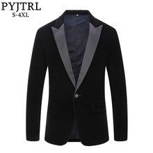 PYJTRL Chaqueta de terciopelo con solapa para hombre, Blazer masculino de talla grande, estilo clásico, negro, chaqueta ajustada, traje de cantantes