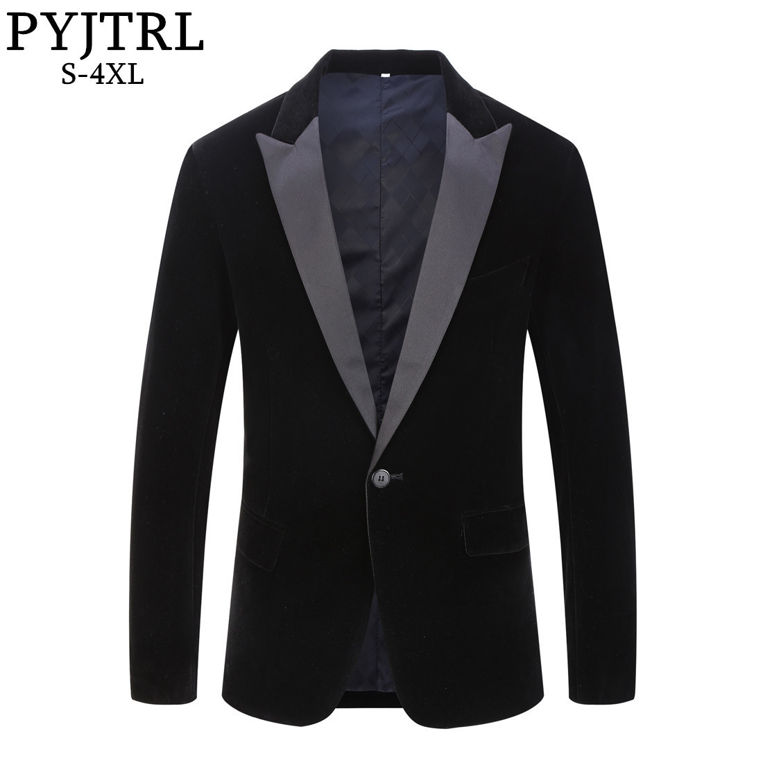 PYJTRL Male Plus Size Classic Black Shawl Lapel Velvet Blazer Men Fashion Casual Wedding Groom Slim Suit Jacket Singers Costume